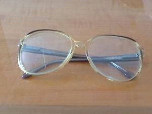 VTG ORCU/OMEGA Clear Acetate w/ Brown Detailing Eyeglass Frames HIPSTER GLASSES