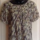 LN DKNY Jeans Multicolor Cotton Batik Printed Jacquard Short Sleeve Top SZ M