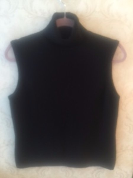 MAG for Bloomingdale's Black 100% Cashmere Turtleneck Sleeveless Sweater SZ L
