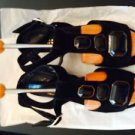 Pre-owned Black Suede w/ Gem Detail Robert Clergerie Wedge Sandals SZ 7B
