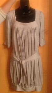 EUC Catherine Malandrino Pearl Gray 100% Silk Boat Neck Dress SZ 6