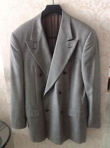 VTG Valentino Uomo Gray Check Double Breasted  Wool  Suit Jacket SZ M