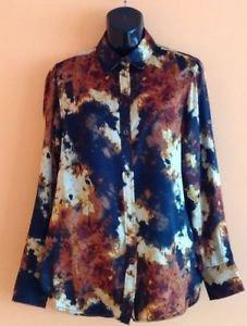 EUC Rachel Roy Signature Abstract Flame Print 100% Silk Blouse SZ 2