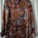 Vintage French Designer Therese Baumaire Printed Button Front Long Sleeve Tunic