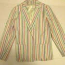 VTG CENTURY Womens Multi Color Striped  Blazer 2 Pockets Size 6 Made in the USA