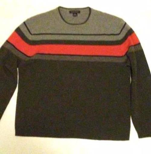 Pre-owned BANANA REPUBLIC Men's 100% Merino Wool Grey/Orange Sweater Size XL