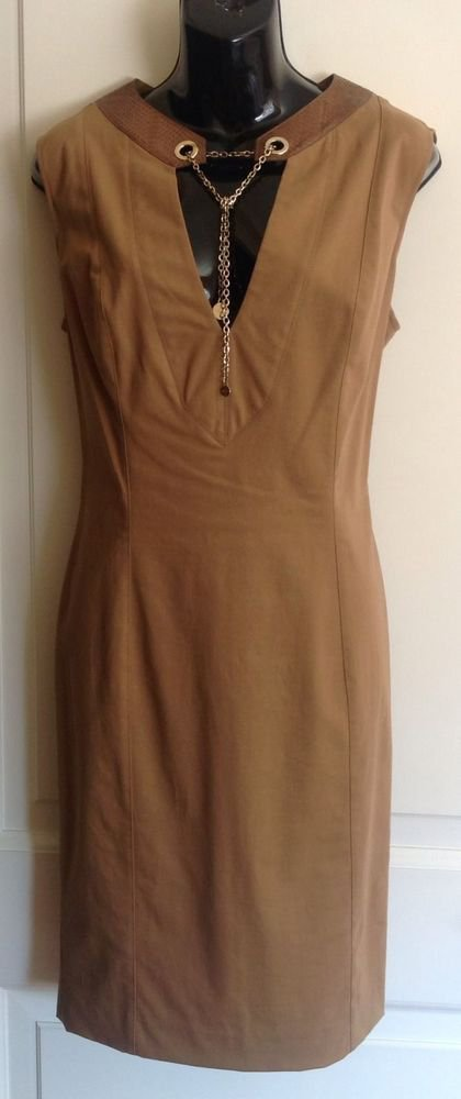LN GUCCI Sleeveless Stamped Leather  Trim Gold Chain Detail SZ 46