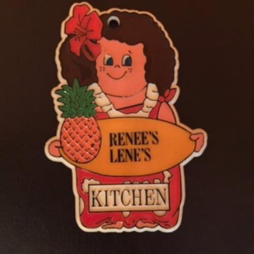 VTG RENEE'S LENE'S KITCHEN Hawaiian Girl Pineapple Kitchen Magnet Retro 1985