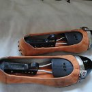 Tods sporty Ballet Flats Orange Suede w/ Patterned Leather Toe Sz 6