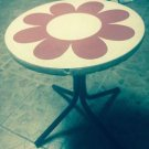 VTG MCM 1960s Flower Design Red & White Side Table Metal Legs