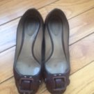 Pre-owned CHLOE Brown Buckle Front Ballet Flats 1.5'' stucco heel SZ 36.5 ITALY