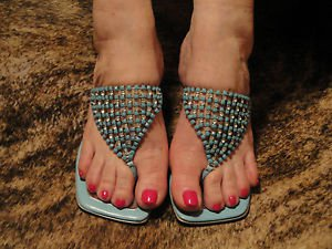 Bruno Magli Couture Silver and Turquoise Open Toe Thongs Mules Heels  Sz 5.5