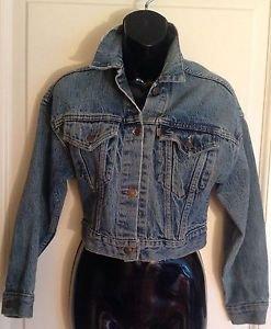 VINTAGE LEVI's Acid Washed Cropped Denim Jacket SZ L