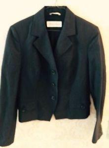 Max Mara Navy Blue W Pinstripes Blazer Jacket Sz 10