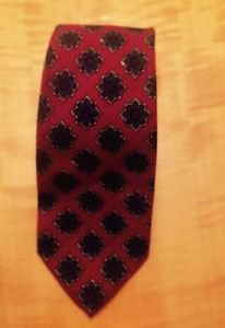 Vtg Lanvin Dark Red Purple Geometric Print Detail Neck Tie