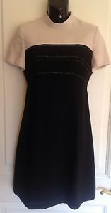 Authentic VTG Liz Claiborne Cream & Black Mod Dress Sz 6