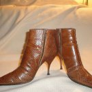Authentic Miu Miu Caramel Snake Embossed Leather Ankle Boots Stiletto Heel
