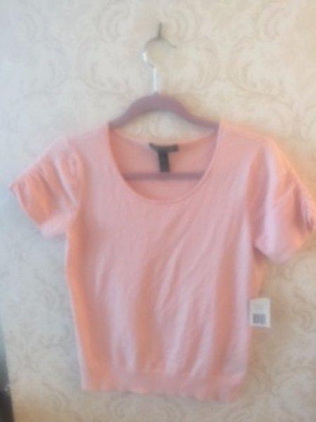 NWT LAUREN by RALPH LAUREN Pink Short Sleeve Silk Blend Sweater SZ S