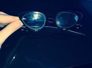 VTG Black Frame Cat Eye Flip Up Lens Glasses Frames Made in France by A.C.