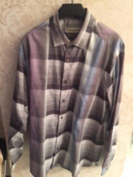Pre-owned TOMMY BAHAMA Blue. Gray, Black Plaid Cotton/Silk Blend Shirt SZ L