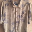 Pre-owned TOMMY BAHAMA Pale Blue & Gray Floral Print 100% Silk Shirt SZ XL