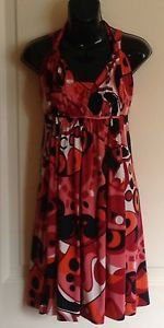 Iodice Geometric Coral , Black, & White Multicolor Jersey Umpire Sundress Sz M