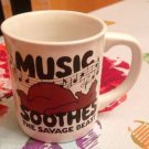 VTG MUG Music Soothes the Savage Beast - Funny Cool Rock Piano Notes Monster
