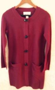 Ellen Tracy Maroon Red Wool Blend Toggle Detail Cardigan Sz S