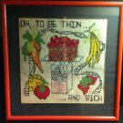 True VTG Kitsch  Needlepoint Still Life Fruit  Framed Picture Estate Sale Find