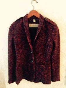 Nwot Burberry Brit Red & Black Boucle wool Blend Jacket/blazer Sz us 6