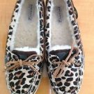 EUC Sperry Top Sider Suede & Pony hair Animal Print Shearling Shoes SZ 6.5 M