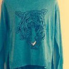EUC ZARA KNIT Cotton Blend Gray Long Sleeve Sweater w/ Tiger Intarsia SZ S