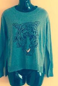 EUC ZARA KNIT Cotton Blend Gray Long Sleeve Sweater w/ Tiger Intarsia SZ S