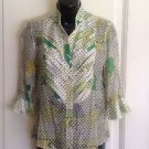 NWOT TOM K Nguyen 100% SIlk Boil Colorful Floral and Polka Dot Print SZ 4