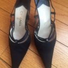 Pre-owned CHANEL black satin mules pumps SZ 36.5 Made in Italy