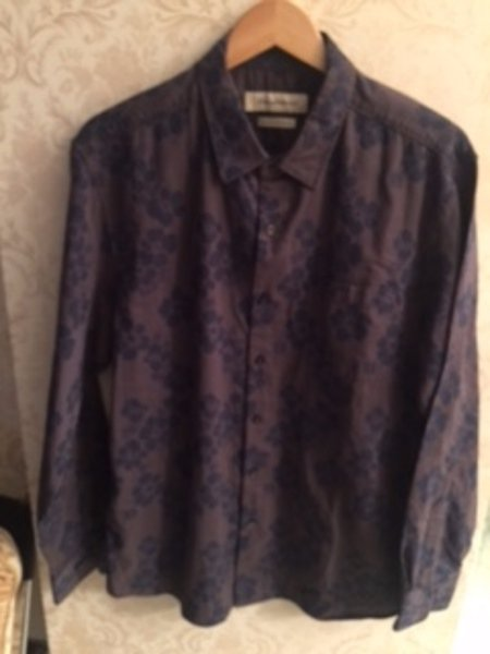 Pre-owned TOMMY BAHAMA 100% Cotton Purple & Blue Abstract Floral Print SZ L