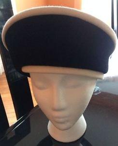 EUC VTG Anita Pineault Black Velour with white trim Sunday Hat