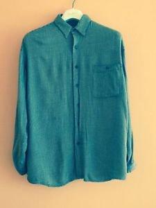 BRUNO M 100% Rayon Brown & Cream Check Button Down Shirt SZ M