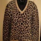NWOT Valentino Cheetah Intarsia Pattern V-Neck Pullover XL
