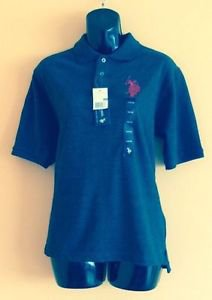 NWT Gray US POLO ASSON.  Polo Shirt w/ Red Piping SZ 14/16