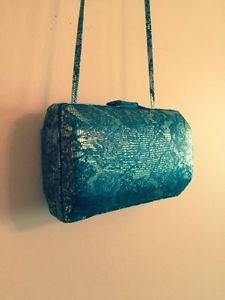 EUC VTG BARBARA BOLAN for BOLAN TOO Gold Snakeskin Print Miniaudiere/Purse