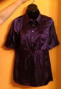 EUC BCBG by Max Azria Purple Silk Blend Blouse SZ M