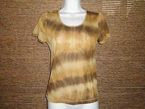 Plazza Sempione Olive& Brown Tie Dye 100% Silk Knit Short Sleeve T-shirt Size M
