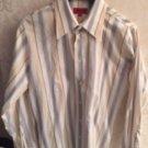 HUGO by HUGO BOSS 100% Cotton Orange, Blue  Vertical Striped Shirt SZ M