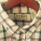 VTG LL Bean Green & Cream 100% Cotton Button Down Sz XL