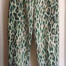 Authentic Christian Dior Paris  Green & Cream Animal Print Pants Culottes SZ 12