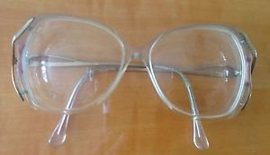 VTG Bella Italia Clear Acetate Frame with Gold Metallic Arms Hipster Glasses