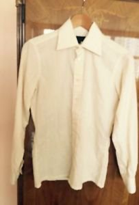 Pre-owned Light yellow White Pinstripe Yves Saint Laurent Sz 14 1/2 Made France