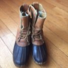 VTG Men's LL BEAN Maine Hunting Boots Tan Leather & Brown Rubber SZ L8 USA Made