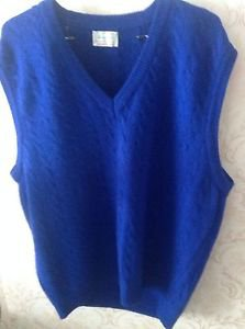 NWOT VTG Bennetton Blue 100% Wool Sweater Vest SZ XL Made in Italy